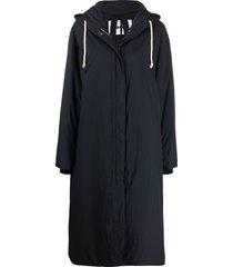 jil sander slouchy hooded parka coat - blue