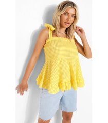 gingham top met vierkante hals en franjes, yellow