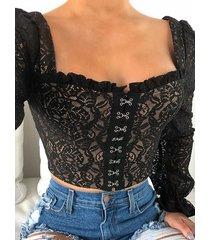 blusa de malla de encaje negro cuello blusa con ribete de volantes