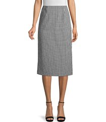 elie tahari women's mila gingham seersucker skirt - black - size 0