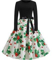 christmas berry snowflake gift print long sleeve dress