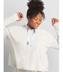 lane bryant women's livi hooded cropped sweatshirt with ombre drawstring 38/40 heather gray