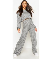 oversized baggy crop top en wide leg broek set, zwart