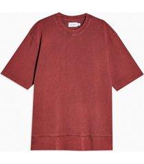 mens red washed burgundy short sleeve sweatshirt