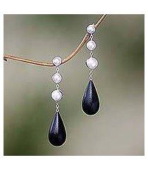 cultured pearl and ebony dangle earrings, 'night tear' (indonesia)