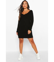 petite mini trui jurk met v-hals, zwart