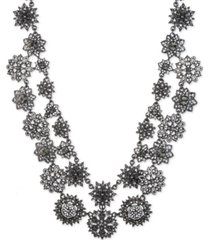 "marchesa hematite-tone crystal & imitation pearl cluster double-row statement necklace, 16"" + 3"" extender"