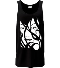 camiseta regata criativa urbana a face da mulher tribal preta