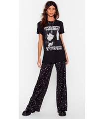 womens star-t your day right high-waisted wide-leg pants - black