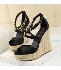 mujer zapatos sandalias de cuña fashion-cool-negro