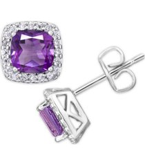 birthstone cushion halo solitaire stud earrings in fine silver plate