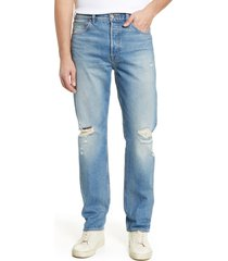 men's 7 for all mankind straight leg ripped jeans, size 32r - blue