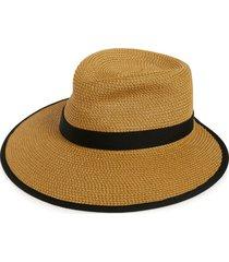 eric javits 'sun crest' packable hybrid fedora visor in natural/black at nordstrom