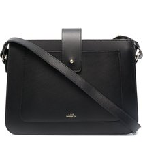 a.p.c. zip-up leather tote bag - black
