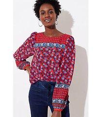 loft border floral blouse