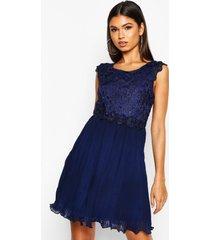 boutique geplooide gewoven kanten skater jurk, marineblauw