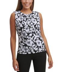 calvin klein floral-print pleated-neck tank
