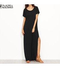 zanzea vestido corto largo de fiesta informal de noche con cuello redondo y manga larga para mujer kaftan -negro