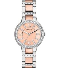 women's fossil 'virginia' crystal bezel bracelet watch, 30mm