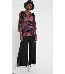 floral batwing sleeve blouse - orange - xl
