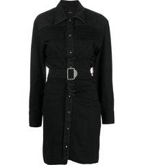 diesel belted shirt dress - black