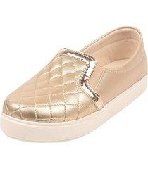 sapatilha sapatênis raniel calçados slip estampa meta lace elástico dourado