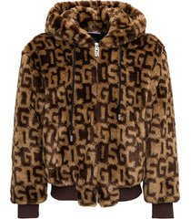 gcds ecological fur jacket with allover logo