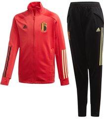 adidas belgië trainingspak 2020-2022 kids zwart rood