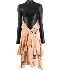 marine serre ruffled skirt hybrid dress - pink