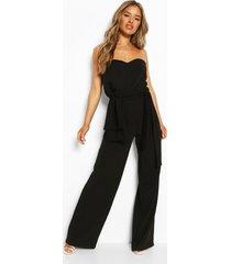 petite bandeau jumpsuit met wijde pijpen en strik, zwart
