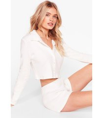 womens button to you ribbed cardigan and shorts set - cream