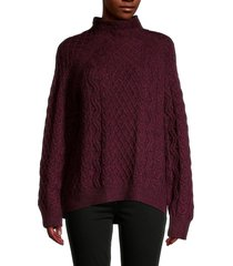 vince women's zigzag cable-knit merino wool-blend sweater - bordeaux - size l
