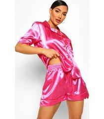 satijnen valentijns hartjes pyjama set, hot pink