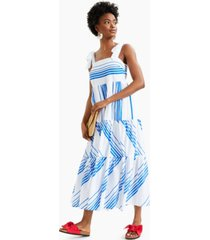 charter club petite striped tie-shoulder tiered midi dress, created for macy's