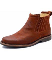 bota botina cano curto em couro top franca shoes marrom