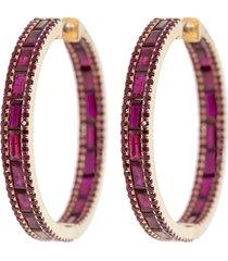 hot pink sapphire baguette hoop earrings
