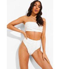 mix & match strapless badstoffen bikini top met reliëf, ecru