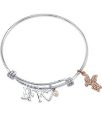 """unwritten """"bff"""" cubic zirconia butterfly adjustable bangle bracelet in stainless steel with silver plated charms"""