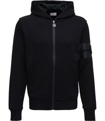 moncler black cotton hoodie with logo