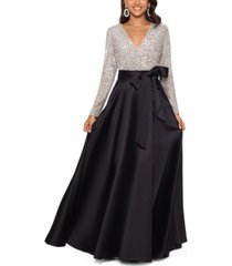 xscape sequinned-top ball gown
