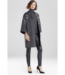 natori felted wool embroidered kimono coat, women's, grey, size m natori