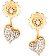 18k yellow gold, ruby & diamond earrings