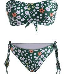 ditsy print lettuce trim tie side bandeau bikini swimwear