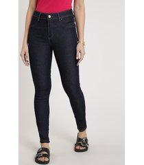 calça jeans feminina sawary skinny cigarrete cintura alta azul escuro