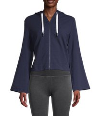 splendid women's zip-front cotton-blend hoodie - marled peacoat - size xs