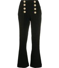 balmain button-embellished tweed trousers - black