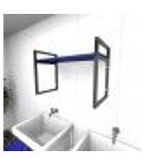 prateleira industrial para lavanderia aço preto mdf 30 cm azul escuro modelo ind03azlav