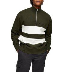 men's topman stripe quarter zip sweatshirt