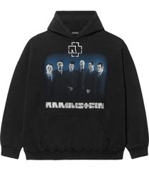 balenciaga rammstein drop-shoulder hoodie - black