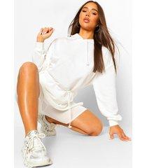 hooded draw string belted sweatshirt dress, ecru